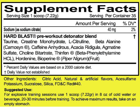 ENERGY FOR GYM PRE-WORKOUT: Hard Blast